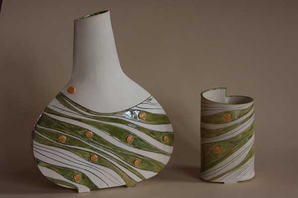 """Vasen mit Dekor """"grün gewellt"""""""